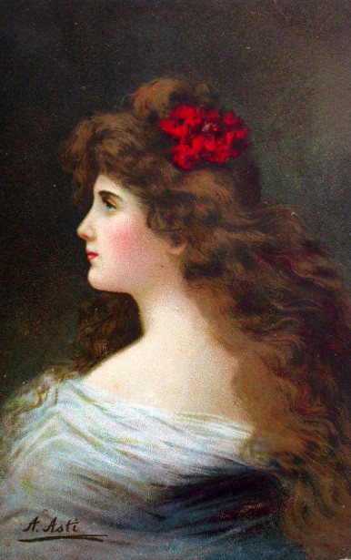 Young Girl With A Rose In Her Hair