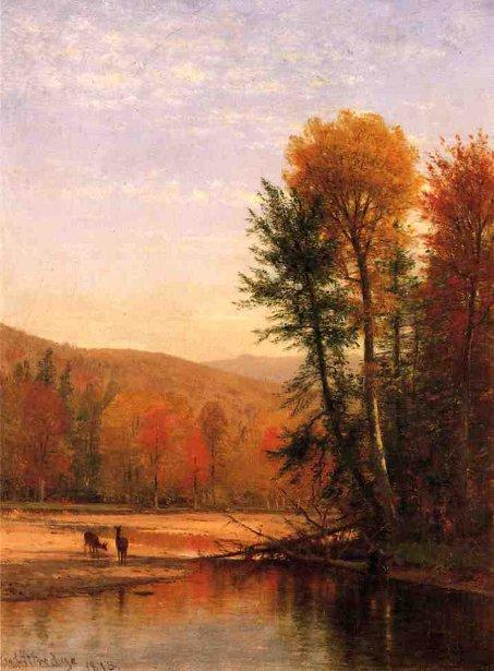 Deer In Autumn Landscape