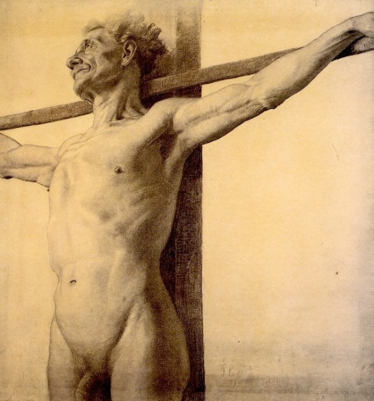 Half-Length Nude With His Arms Extended Upon A Cross