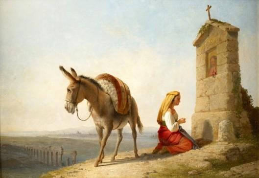 Pilgrim Beside A Roadside Shrine, Rome