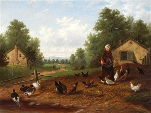 A Farm Scene With Ducks And Chickens