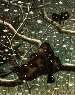 Birds On Branches In Snowfall