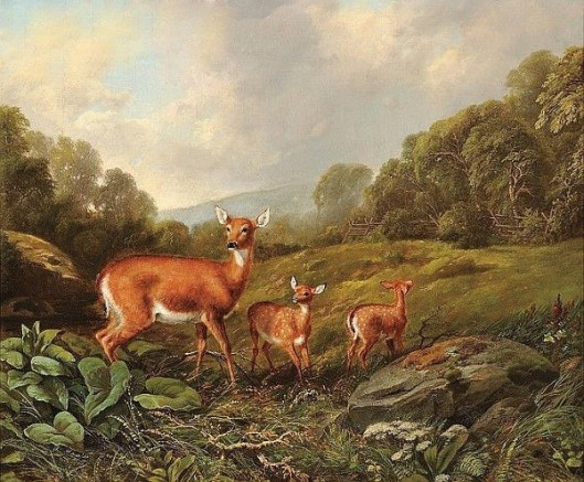 Doe And Fawns In A Landscape