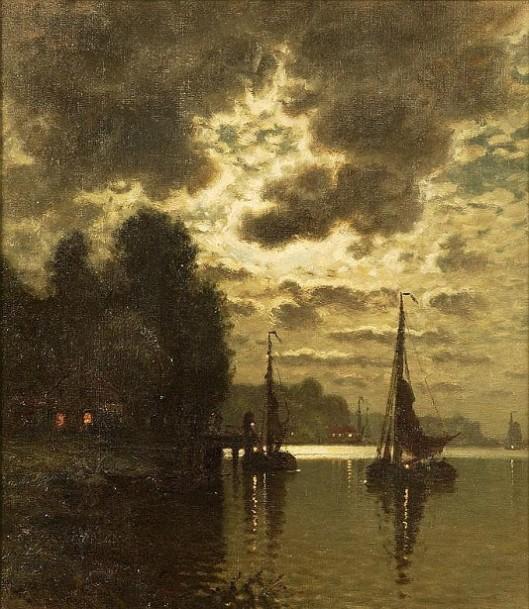 Harbor Scene At Dusk
