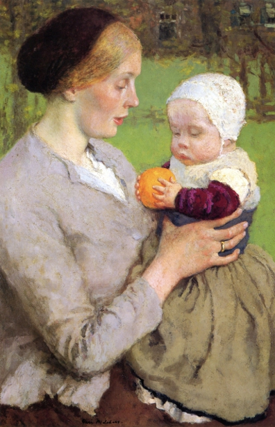 Mother And Child With Orange