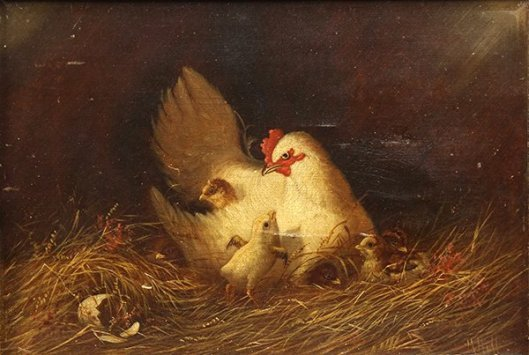 Mother Hen With Chicks On The Barn - Chicken And Chicks In The Nest