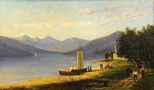 Mountain Lake With Figures And Boats On The Shore
