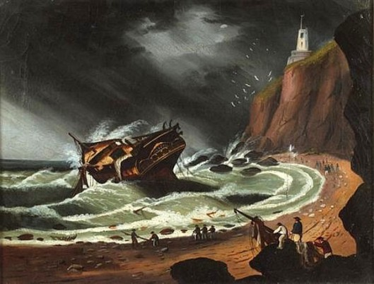 Shipwreck Off A Rocky Coast - Ship In Storm