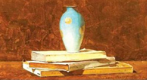 Still Life With A Blue Vase And Books