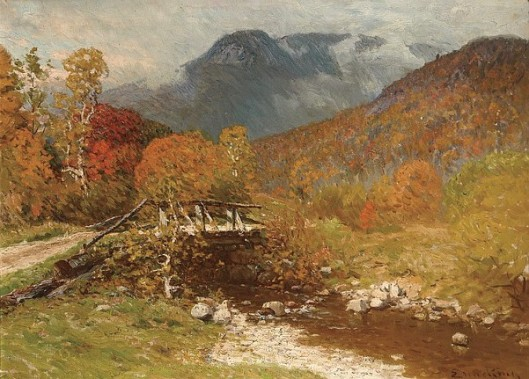 The Autumn Bridge In The Mountain
