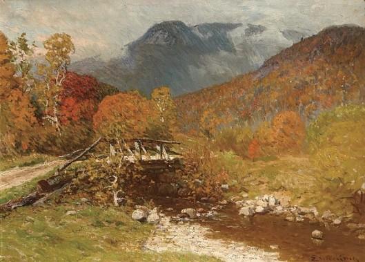 The Autumn Bridge In The Mountain