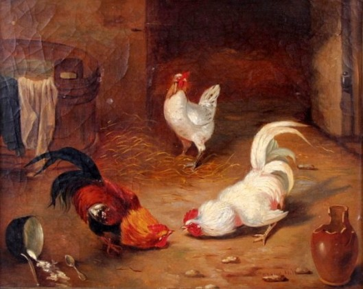 Two Roosters Challenging