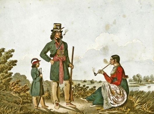 A Halfcast With His Wife And Child