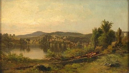A River Landscape With Town And Distant Mountains