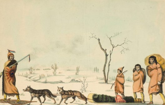A Souteaux Indian Travelling With His Family In Winter Near Lake Winnipeg
