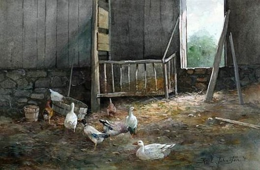 Barnyard With Ducks And Chickens