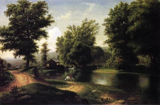 Boy On A White Horse On Edge Of Pond