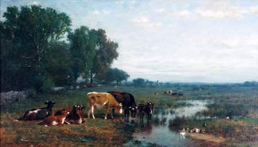 Cattle And Ducks In A River Landscape