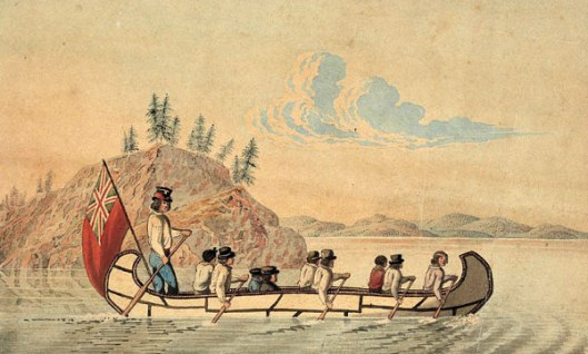 Hudson's Bay Company Officials In An Express Canoe Crossing A Lake