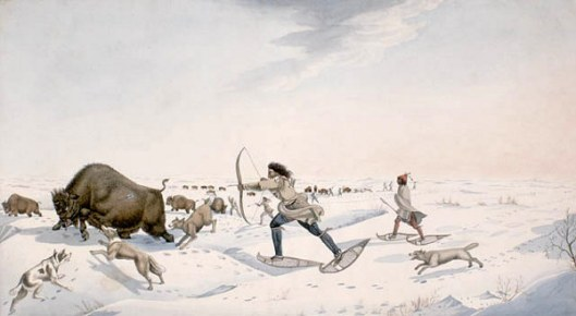 Indian Hunters Pursuing Buffalo In The Early Spring - Mode Of Chasing The Bison By The Assiniboin