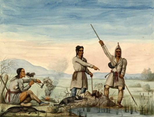 Indians Spearing Beaver