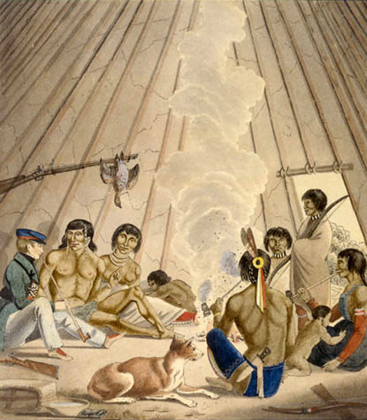 Inside An Indian Tent & Peter Rindisbacher (1806 u2013 1834) | AMERICAN GALLERY - 19th Century