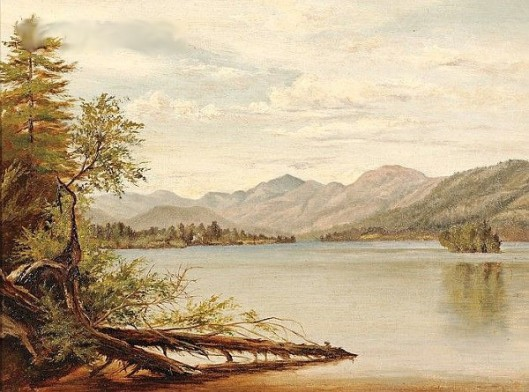 Landscape With Lake And Distant Mountains