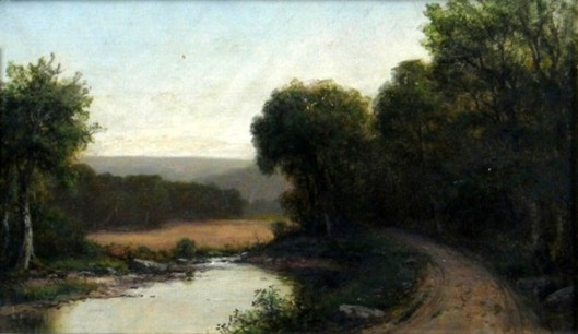Landscape With Trees, Pond And Road