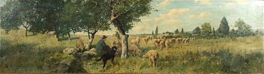 Panoramic Landscape With Shepherd And Flock