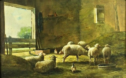 Sheep In Barn