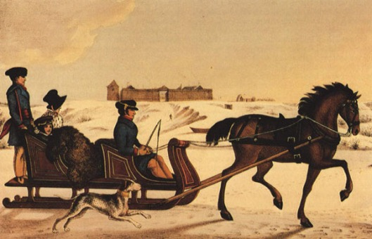 Governor of Red River, Andrew Bulger, driving his family on the frozen Red River in a horse cariole with Fort Garry in the background