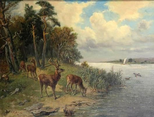 Stag And Deer By A River