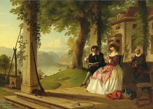 Washington Irving Reading Knickerbocker's History Of New York On The Porch Of Sunnyside