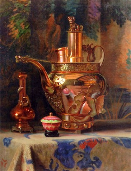 A Still Life With A Chinese Brass Kettle
