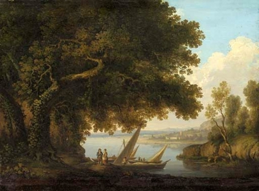 An Italianate Lake Landscape With Figures And Boats