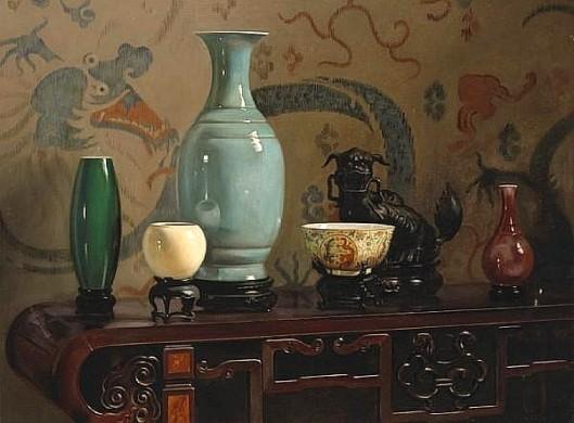 Asian Still Life With Blue Vase