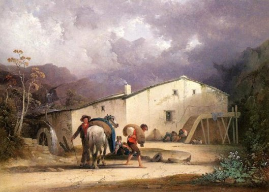Old Mill, Miller And Horse