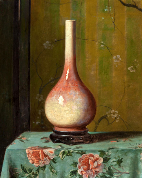 Pink And Green Vase