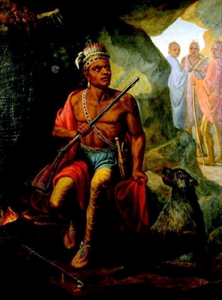 An American Indian Seated In A Cave By A Fire