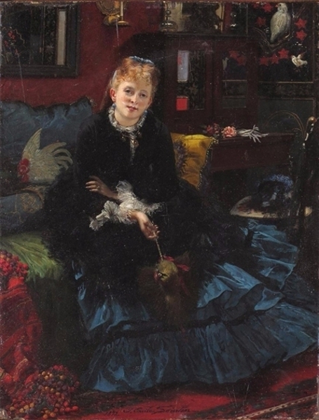 A Lady Seated In An Interior