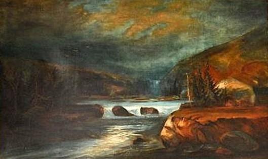 A Stormy River Landscape