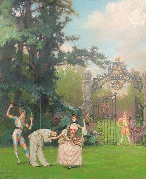 Garden Scene With Harlequins