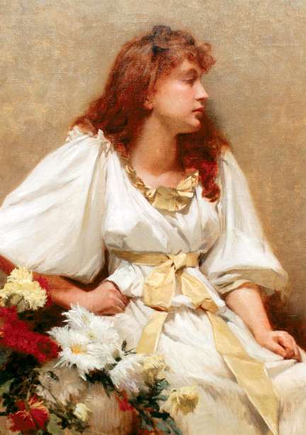 Girl In White With Chrysanthemums