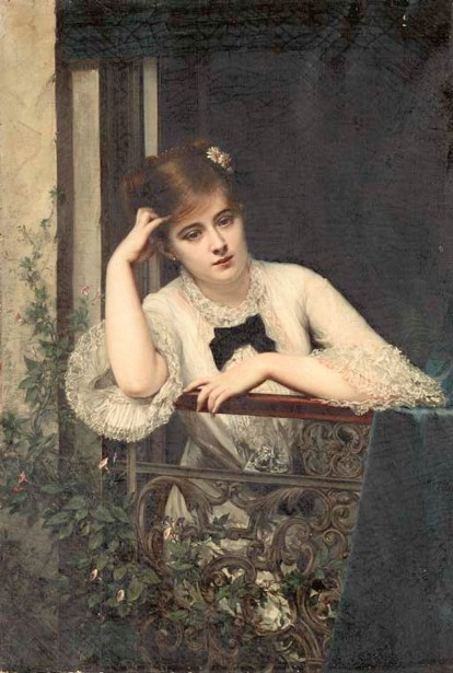 Pensive Young Girl On A Balcony - A Modern Juliet