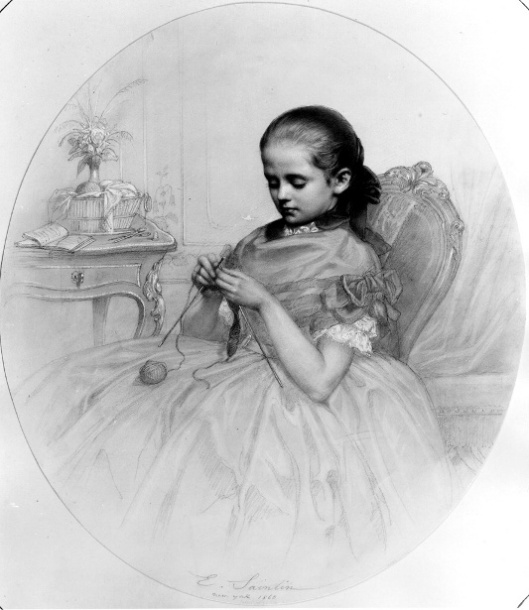 Young Girl Knitting (possibly Jennie Walters)