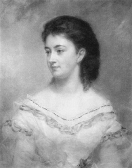 Young Lady In A White And Blue Gown Holding A Rose