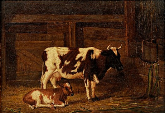 Cow And Calf In A Barn
