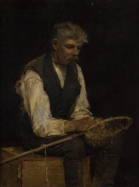 Gray Haired Man Mending A Net