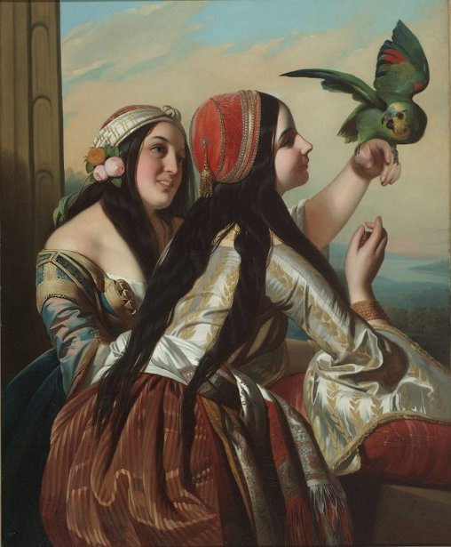 Gypsy Girls With Parrot - Two Panamanian Girls With Parrot