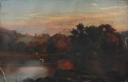 Hudson River Scene With Cows Watering